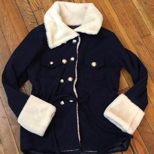 XUE LIAN HUE Fashion Coat. Navy/cream. Size L.